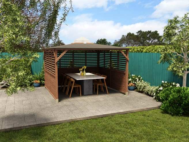 Erin Gazebo with panels and dining table