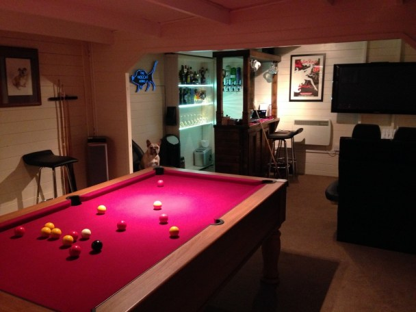 Man Cave Log Cabin from Dunster House with corner bar and pool table