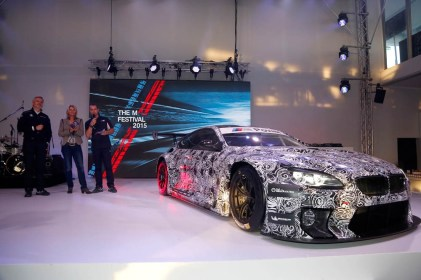 Nürburgring (DE), 14th May 2015. 24h race, BMW M6 GT3 Presentation, Jens Marquardt (DE) BMW Motorsport Director, Mareen Braun (DE), Frank van Meel (NL)Chairman of the Board of Management of BMW M GmbH. This image is copyright free for editorial use © BMW AG (05/2015).