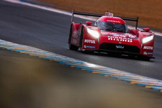 The Nissan GT-R LM NISMO in action at the Le Mans test day