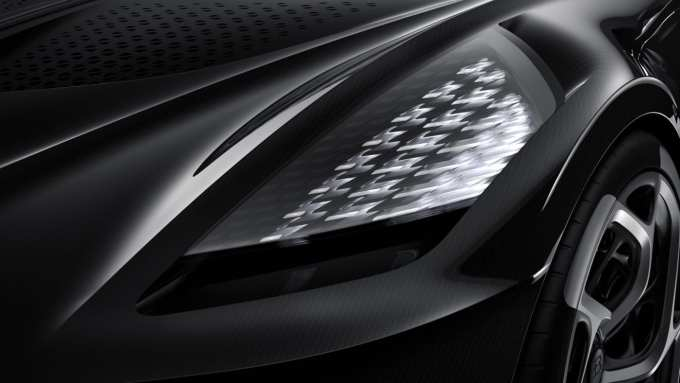 Even the Bugatti La Voiture Noire headlights are a work of art