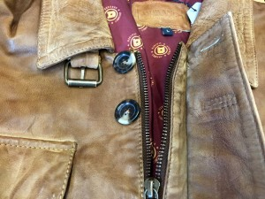 Brown women's jacket collar hardware