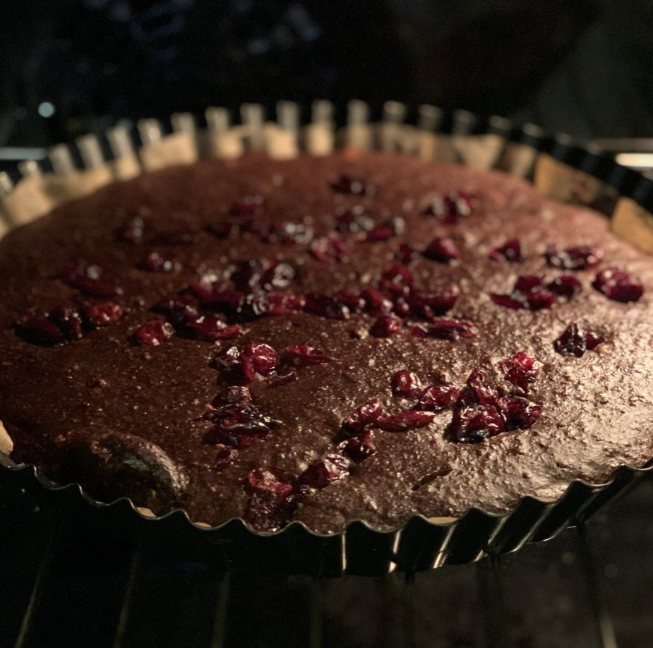 This image was used to show the baked protein chocolate tart.