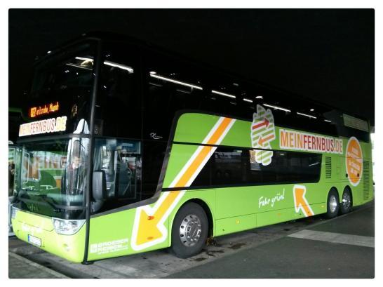Nagelneuer 5-Sterne Reisebus von MeinFernbus von München nach Köln.