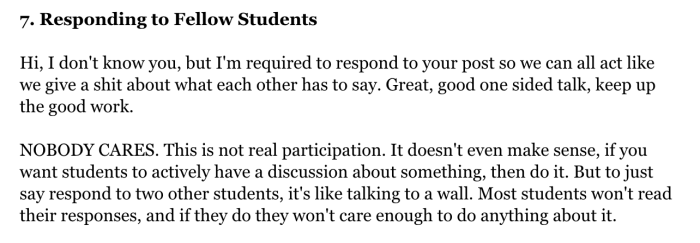 A student's complaints about online classes.