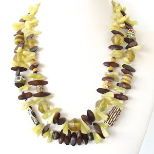 Double Strand Necklace in Olive Jade
