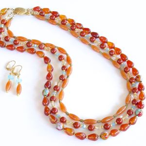 Orange Aventurine Necklace Set