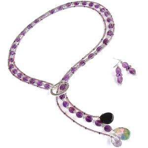Amethyst Lariat Necklace Set