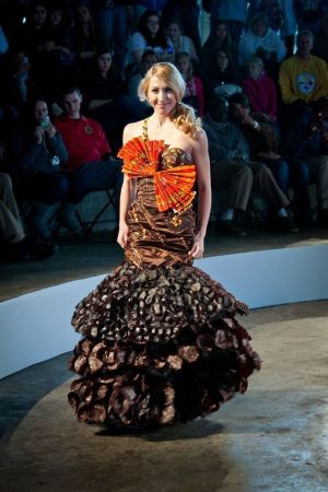 Dress completely made of chocolate.