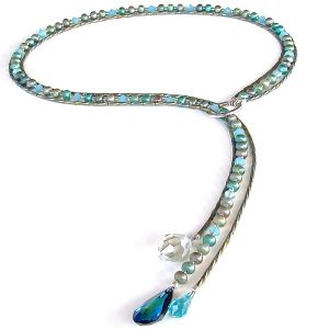 Blue and Green Necklace Lariat