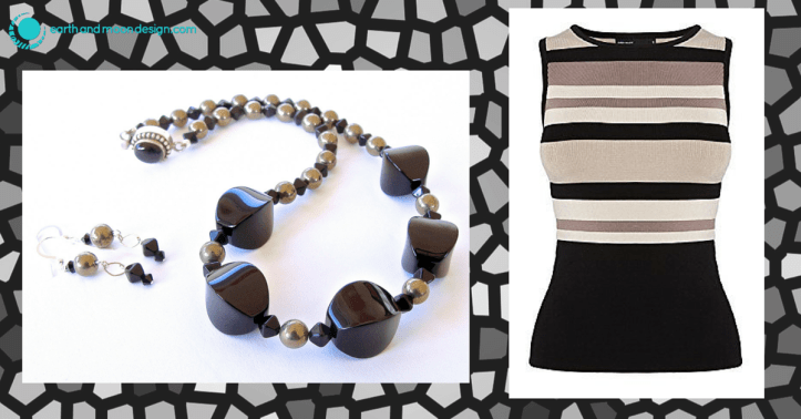 Architectural Necklace Paired with Graphic Knit
