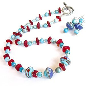 Blue and red lampwork glass necklace set