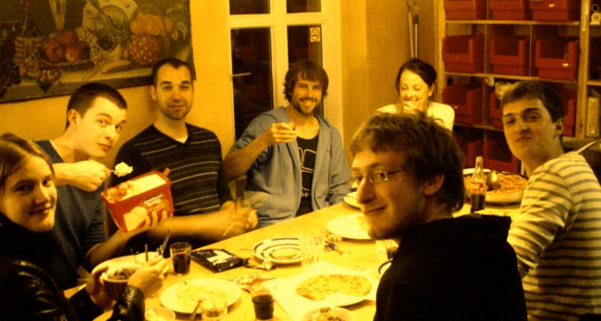 Eating together at the hostel