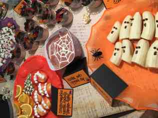 healthy halloween snacks on a table