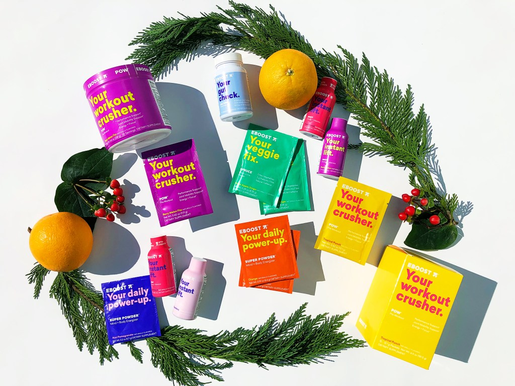 EBOOST products with Christmas garland