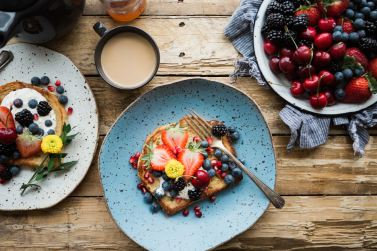 healthy nutritious breakfast, berries and toast