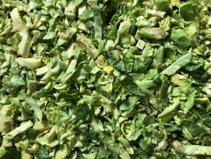 close up of shaved brussels sprouts