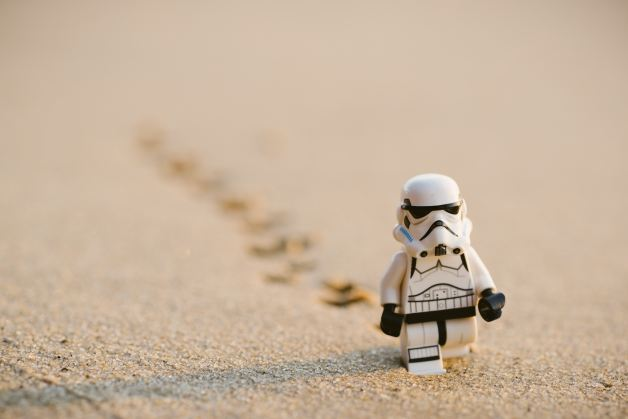 stormtrooper lego in the sand