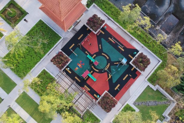 aerial view of a playground