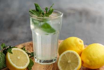 water in a glass with lemon and mint