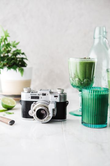 green smoothie with camera