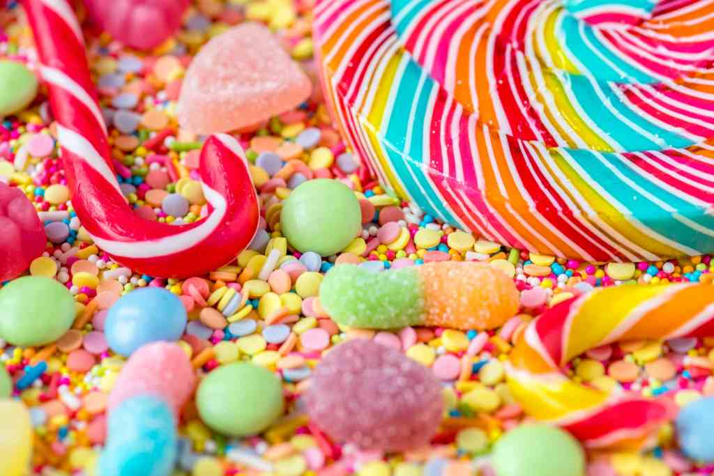 a pile of colorful sugary candy