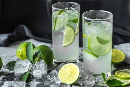 vodka, soda, and lime in a tall clear glass