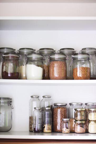 pantry of dry goods in jars