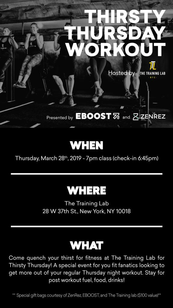 EBOOST x Training Lab NYC Event Graphic