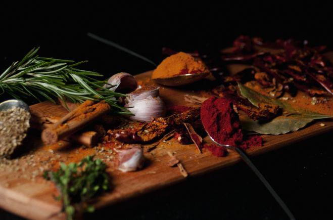 spices on a platter