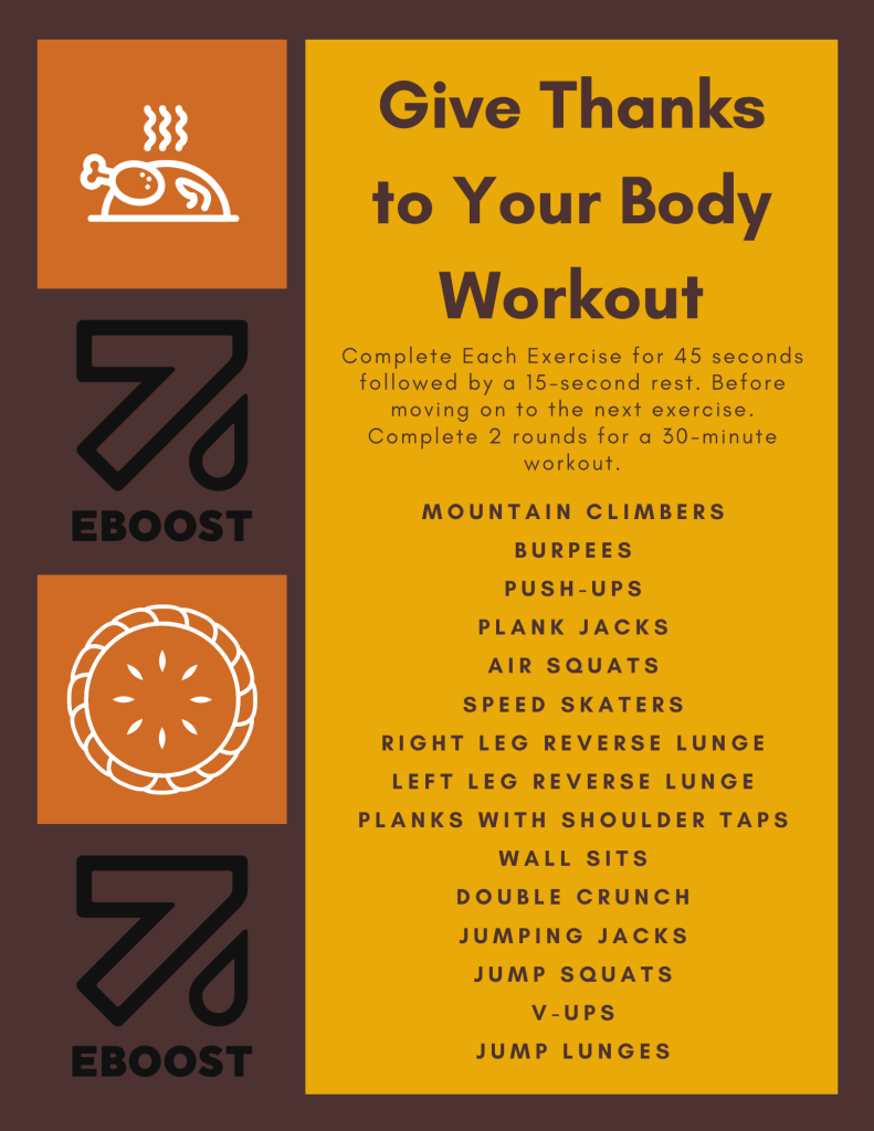 EBOOST Thanksgiving At Home Workout
