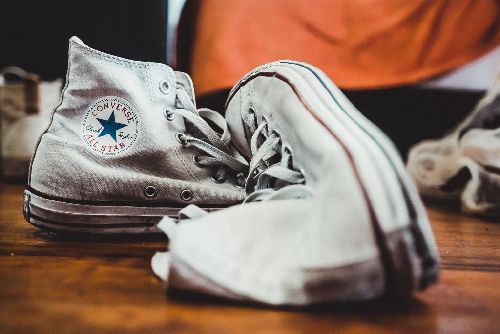 white sneakers baking soda