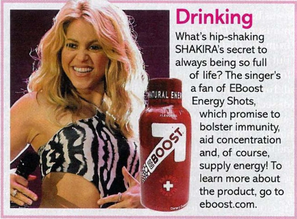 "Shakira ""Life & Style"" ""life&style"" EBOOST healthy energy drink mix ""super berry shot"""