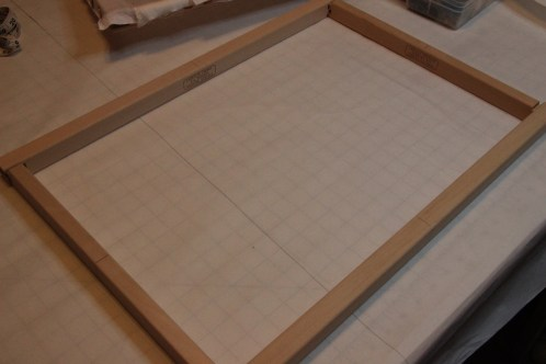 An assembled frame being squared up