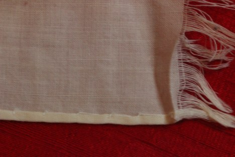 Fringed end on Baptismal Towel