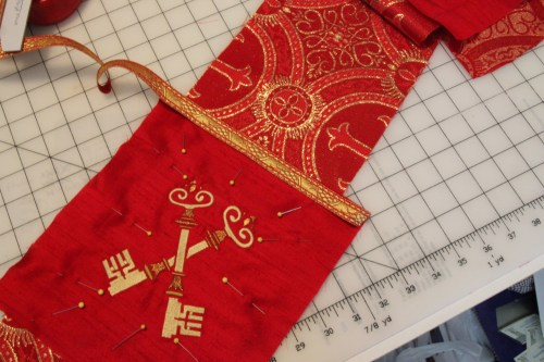 Embroidered Keys for Pentecost Stole