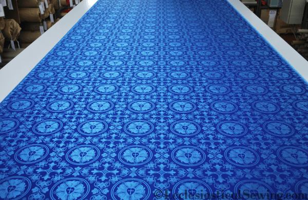 silk blue luther rose brocade by the yard Christian liturgical vestment sewing