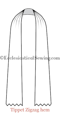 Tippet with zig-zag ends choir dress church vestments Ecclesiastical Sewing Sewing patterns Church vestment patterns