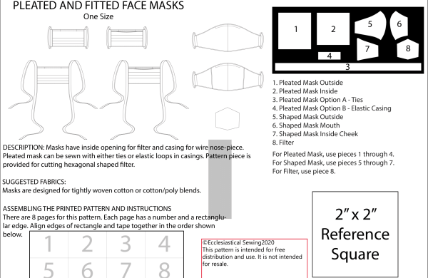 facemask patterns Covid 19 Ecclesiastical Sewing
