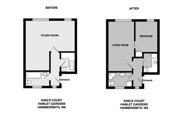 monolocale convertito in un appartamento