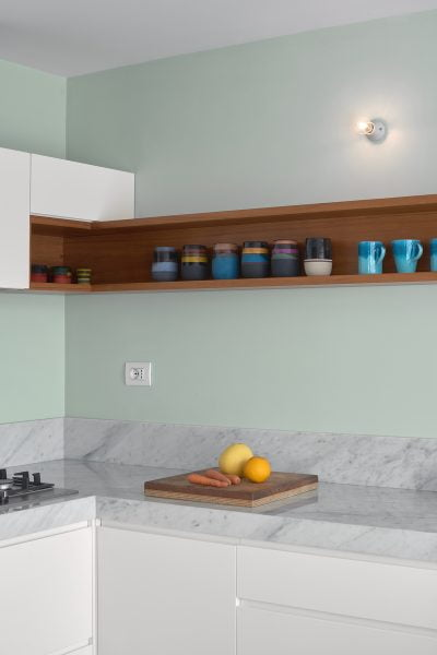 Parete cucina verde acido chiaro