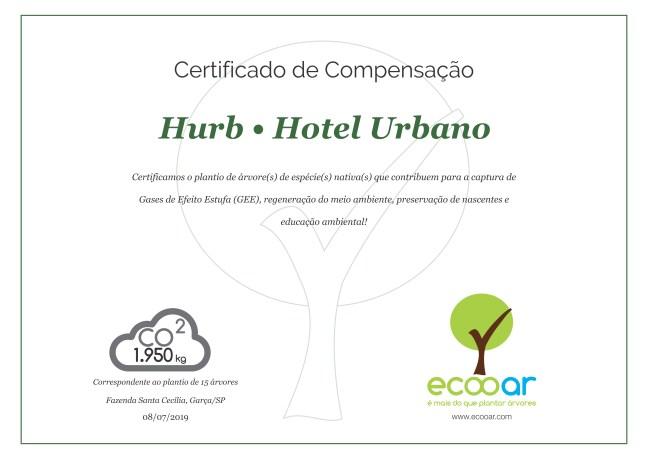 Certificado de compensação de Gases de Efeito Estufa do Hotel Urbano, da Ecooar