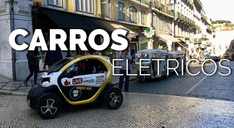Foto mostra rua em Potugal com carro elétrico