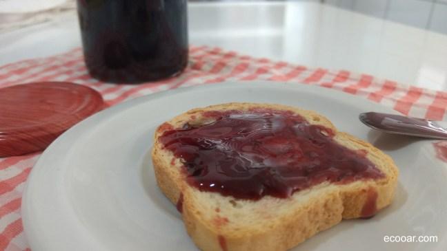 Foto mostra prato com torrada e geleia de jabuticaba