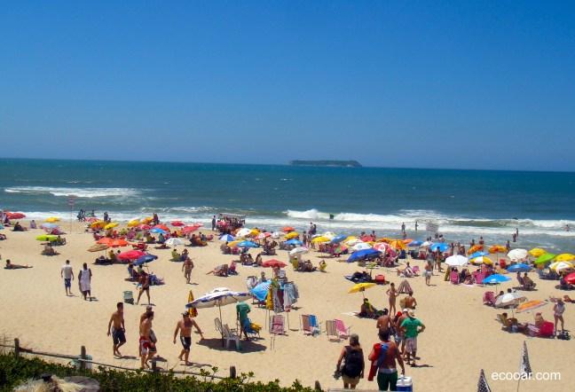 Foto mostra Praia Mole lotada, com ilha ao fundo