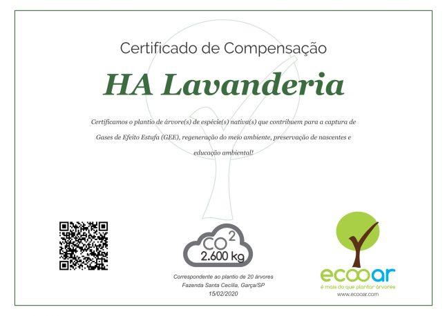 Imagem contém certificado de plantio da HA Lavanderia