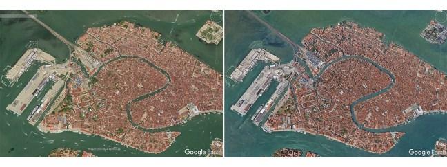 Foto mostra duas imagens aéreas de Veneza, uma com muitos barcos e a outra sem, tudo causada pelo Coronavírus