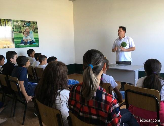 Foto mostra aula ambiental na Escola Ecooar de Educação Ambiental José Béttio compartilhada em rede social