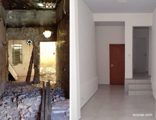 Foto mostra antes e depois de ambiente degradado e após a reforma de prédio, com pisos e porta de madeira