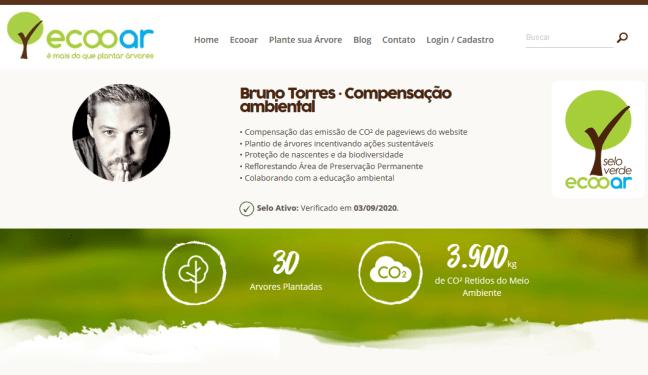 Imagem mostra o website de Bruno Torres realizando marketing verde